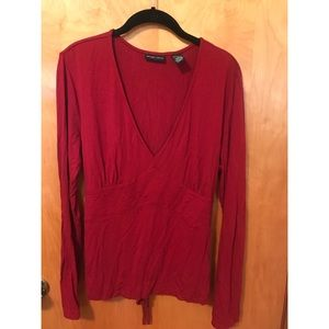 New York & Co. Red V-Neck Blouse with Tie